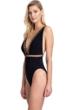 Gottex Collection Cabaret Black Deep Plunge V-Neck Cut Out One Piece Swimsuit