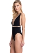 Gottex Collection Cabaret Black/White Deep Plunge V-Neck Cut Out One Piece Swimsuit