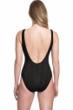 Gottex Essentials Cosmos Black Textured Scoop Neck High Leg Underwire One Piece Swimsuit