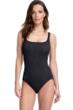 Gottex Essentials Cosmos Black Textured Square Neck One Piece Swimsuit