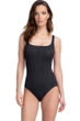 Full Coverage Gottex Essentials Cosmos Black Textured Square Neck High Back One Piece Swimsuit