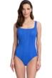 Full Coverage Gottex Essentials Cosmos Periwinkle Textured Square Neck High Back One Piece Swimsuit
