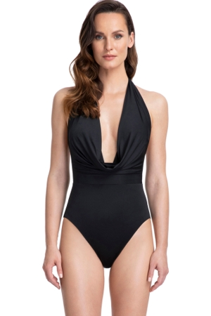 Gottex Couture Cassiopeia Black Deep Plunge Halter One Piece Swimsuit