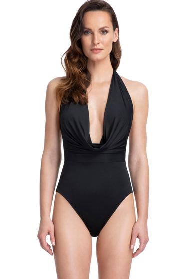 Gottex Couture Cassiopeia Black Deep Plunge Halter One Piece Swimsuit