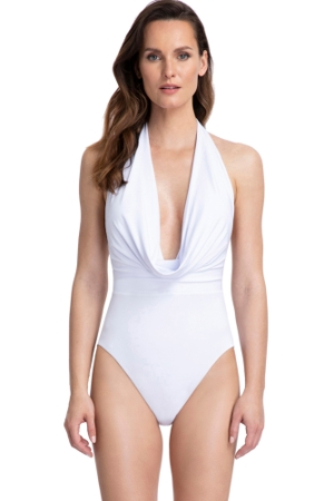 Gottex Couture Cassiopeia White Deep Plunge Halter One Piece Swimsuit