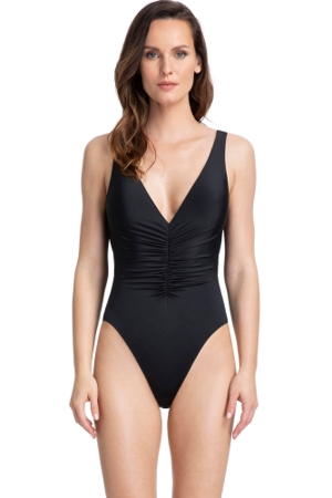 Gottex Couture Cassiopeia Black Ruching V-Neck Plunge One Piece Swimsuit