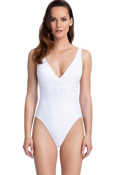 Gottex Couture Cassiopeia White Ruching V-Neck Plunge One Piece Swimsuit