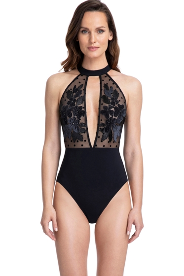 Gottex Couture Carina Black High Neck Mesh Sheer Polka Dot Open Back One Piece Swimsuit