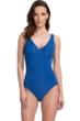 Full Coverage Gottex Essentials Deep Dive Blue Surplice High Back One Piece Swimsuit
