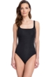 Full Coverage Gottex Essentials Deep Dive Black Square Neck High Back One Piece Swimsuit
