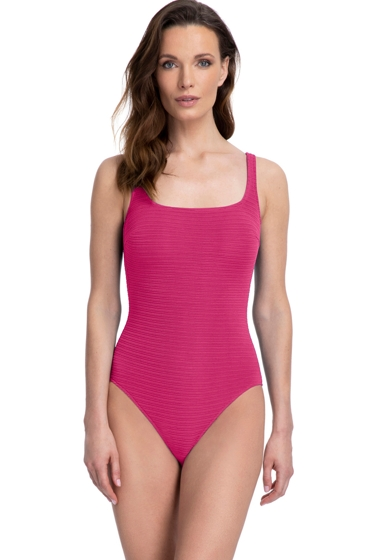 Full Coverage Gottex Essentials Deep Dive Raspberry Square Neck High Back One Piece Swimsuit