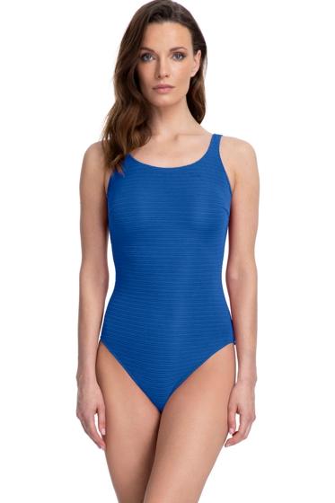 Gottex Essentials Deep Dive Blue Mastectomy High Neck One Piece Swimsuit