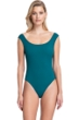 Gottex Collection Elle Forest Green Off the Shoulder High Leg One Piece Swimsuit