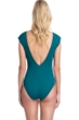 Gottex Collection Elle Forest Green Deep Plunge Flared Sleeve One Piece Swimsuit