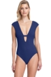Gottex Collection Elle Navy Deep Plunge Flared Sleeve One Piece Swimsuit