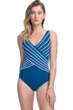 Gottex Essentials Embrace Teal and White Mock Surplice One Piece Swimsuit