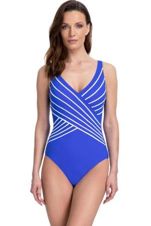Gottex Essentials Embrace Azure V-Neck Surplice One Piece Swimsuit