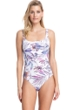 Full Coverage Gottex Collection First Bloom Square Neck High Back One Piece Swimsuit