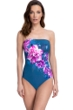 Gottex Essentials Fiji Navy and Pink Bandeau Strapless One Piece Swimsuit