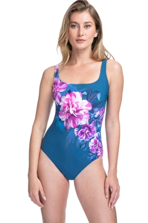 Full Coverage Gottex Essentials Fiji Navy and Pink Square Neck High Back One Piece Swimsuit
