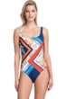 Full Coverage Gottex Classics Fleur Royal Navy and Red Square Neck High Back One Piece Swimsuit