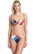 Gottex Classics Fleur Royal Navy and Red Bandeau Strapless Push Up Underwire Bikini Top with Matching Classic Mid Rise Hipster Bikini Bottom