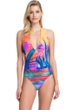 Gottex Contour Indian Summer Halter Tie Back One Piece Swimsuit