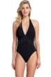 Gottex Classics Lavish Elegance Black V-Neck Halter One Piece Swimsuit