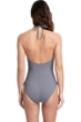Gottex Couture Lyra Grey High Neck Halter One Piece Swimsuit