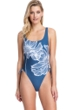Gottex Collection Lily Dusk Blue Scoop Neck High Leg Underwire One Piece Swimsuit