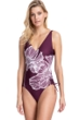 Gottex Collection Lily Wine V-Neck Underwire One Piece Swimsuit