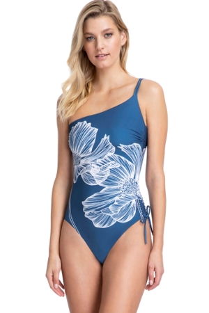 Gottex Collection Lily Dusk Blue One Shoulder One Piece Swimsuit