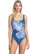 Gottex Collection Lily Dusk Blue Square Neck One Piece Swimsuit