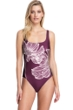 Gottex Collection Lily Wine Square Neck One Piece Swimsuit