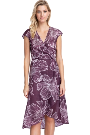 Gottex Collection Lily Wine Tie Front Long Surplice Wrap Dress