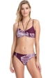 Gottex Collection Lily Wine Strappy Bandeau Strapless Bikini Top with Matching Mid Rise Hipster Bikini Bottom