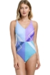 Full Coverage Gottex Collection Modern Art Blue V-Neck High Back One Piece Swimsuit