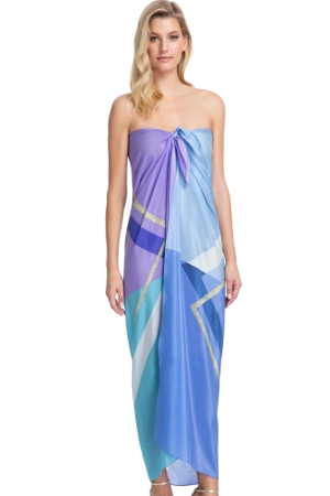 Gottex Collection Modern Art Blue Full Length Pareo