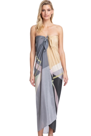 Gottex Collection Modern Art Grey Full Length Pareo
