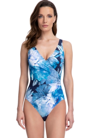 Full Coverage Gottex Essentials Midnight Floral Blue Surplice High Back One Piece Swimsuit