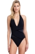 Gottex Contour Moonlight Glow Black V-Neck Halter Tie Back One Piece Swimsuit