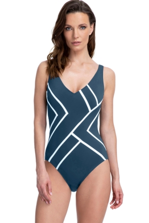 Full Coverage Gottex Essentials Mirage Teal V-Neck High Back One Piece Swimsuit