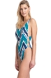 Gottex Collection Moroccan Jewel Blue Scoop Neck High Leg One Piece Swimsuit