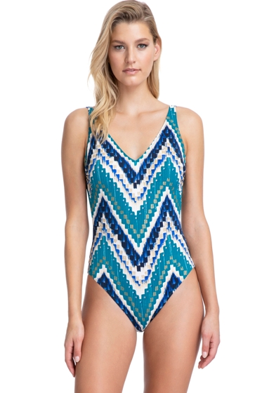 Gottex Collection Moroccan Jewel Blue V-Neck One Piece Swimsuit