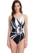 Gottex Essentials Midnight Rose Black and White Mastectomy High Neck One Piece Swimsuit