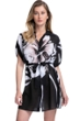 Gottex Essentials Midnight Rose Black and White Tie Front Button Down Blouse Tunic