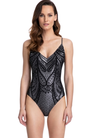 Gottex Couture Norma Grey and Black V-Neck Lingerie One Piece Swimsuit