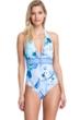 Gottex Collection Paradise Blue Halter V-Neck One Piece Swimsuit