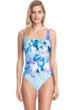 Full Coverage Gottex Collection Paradise Blue Square Neck High Back One Piece Swimsuit