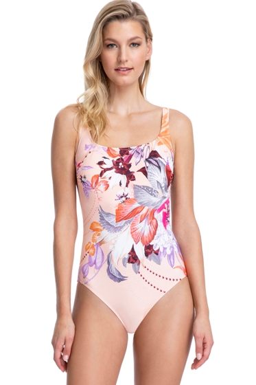 Full Coverage Gottex Collection Paradise Peach Square Neck High Back One Piece Swimsuit